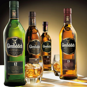 Gama de whiskies de malta Glenfiddich (Foto: Glenfiddich.com)