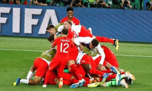 England players celebrate after defeating Colombia in a penalty shootout at the end of the round of 16 match between Colombia and England at the 2018 soccer World Cup in the Spartak Stadium, in Moscow, Russia, Tuesday, July 3, 2018. (AP Photo/Antonio Calanni) ORG XMIT: XAF208